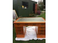Chesterfield Style Study Desk and Captains Chair in Yew Veneer