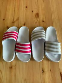 Two Pairs Of Adidas Sliders Size 5