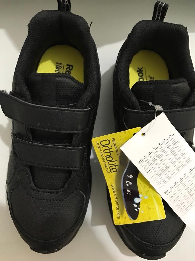 Brand new REEBOK ORTHOLITE SCHOOL BOYS BLACK shoes TRAINERS UK-12 EU-30