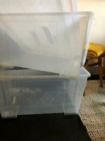 2 large IKEA clear boxes with lids and lid clips