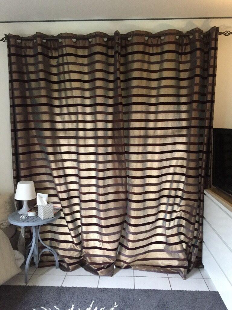 Bronze and purple velvet stripe curtains