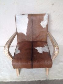 NEW GENUINE TEAK WOOD GOAT HIDE CHAIR H780mm W680mm D700mm