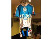 Bianchi Italy cycle jersey / top and bib shorts adult Small old but never worn too small