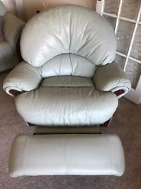 Fully reclining swivel chair pale green leather. Collection only