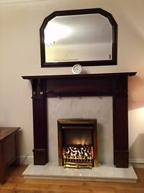 Fireplace surround, mahogany and matching mirror with marble back and hearth, electric inset fire