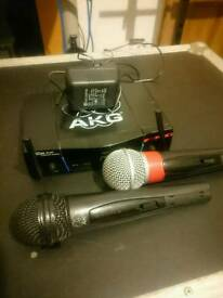 AKG Pro twin radio microphones + power supply