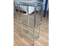 Glass & chrome open storage or display shelf unit for bedroom, bathroom, or kitchen