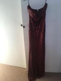 TFNC Dark Red floor length sequin dress