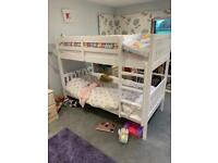 The White Company white painted wooden bunk bed.