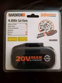 Worx 20v 4.0ah li-on battery brand new sealed