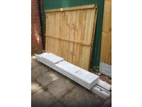 """2 5ft fence panels, 2 8ft end slotted posts, 3 12""""inch gravel boards, 3 bags post cement"""