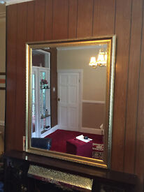 LARGE GOLD FRAMED BEVELLED MIRROR