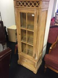 Pine glass front cabinet