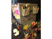Silver 3 Drawer Pierre-Henry Filing Cabinet (with keys)