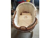 Wicker baby Moses basket plus wicker accessories basket