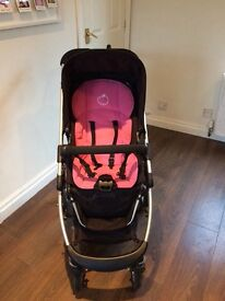 Icandy Cherry Single Stroller (black) with Carrycot, Maxi Cosi Cabriofix Car Seat and Accessories
