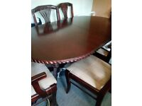Mahogany table and six chairs