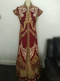 Red Lengha Gold & Silver Embroidery