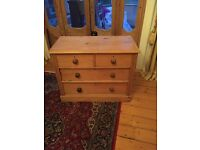 Antique Victorian Stripped Pine Chest of Drawers