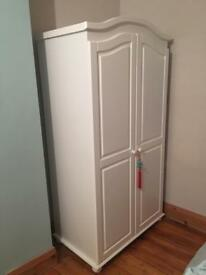 Solid white wood wardrobe