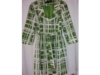 Ladies Lightweight Coat by Next, Dark Lime and Off-white, size 14-16, 3/4 length sleeve