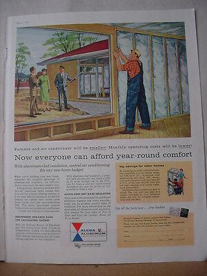1957 Alcoa Aluminum House Siding Insulation Saves Money Vintage Print Ad 10237
