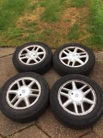"""15"""" alloys with tyres and wheel nuts"""