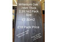 MILLENIUM OAK LAMINATE FLOORING 7MM 4V GROOVE £7.50m2