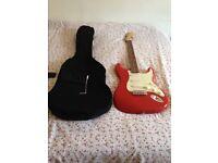 Fender squier guitar and Roland amp