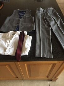NEXT BOYS SUIT age 8, includes trousers, waistcoat, shirt and tie