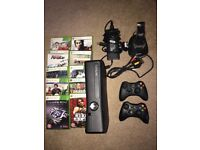 Xbox 360 S Model 1439 Slim 250gb, 2 wireless controllers & charger plus 10 games!
