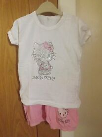 Girls Hello Kitty Top and Shorts Set Age 3