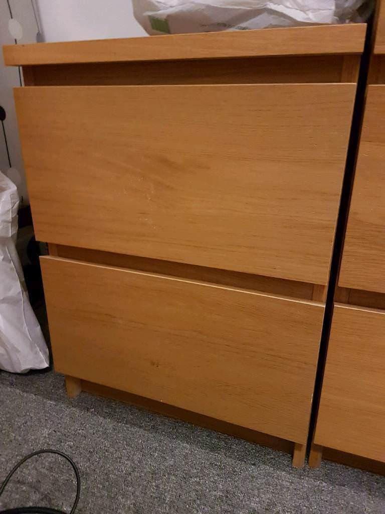 Pair of Ikea oak effect bedside tables