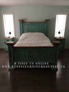 Turquoise wash King Tall headboard bed frame Rustic Pine Bed