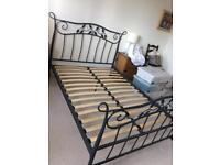Dark grey metal floral double bed frame