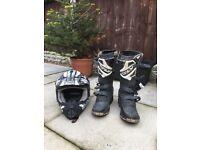 Motocross boots and helmet