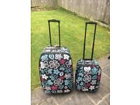 2 x Expandable Trolley Suitcases - Patterned - Good Condition
