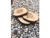 8 large log slices - great for wedding table centres / cake stand