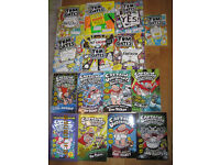 Seven Tom Gates books by L. Pichen and Eight Captain Underpants books by Dav Pilkey