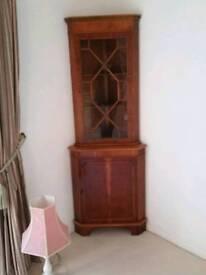 Walnut veneer corner cabinet