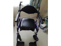 Walking aid turns into wheelchair