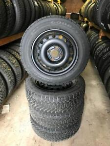195 60R 15 GOODYEAR NORDIC WINTER SNOW TIRES & RIMS 4X108 BOLT FORD FOCUS FIESTA 9/32NDS EXCELLENT CONDITION
