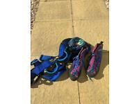 Rock boots, harness & chalk bag