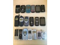 Collection of nostalgic mobile phones