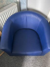 Blue leather tub chair