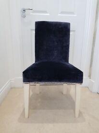 Navy blue and silver velvet/velour chair