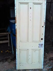 Believed white pine reclaimed 4 panneled interior doors from 1920s