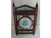 Antique Ebonised and Floral Striking Mantel Clock Aesthetic Period
