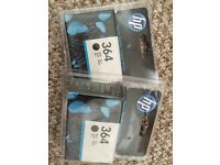 Two New in Box HP 364 Black Ink Cartridges