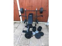 LikeNew MultiFunction Bench with 87kg Weights Set. •Can Deliver•